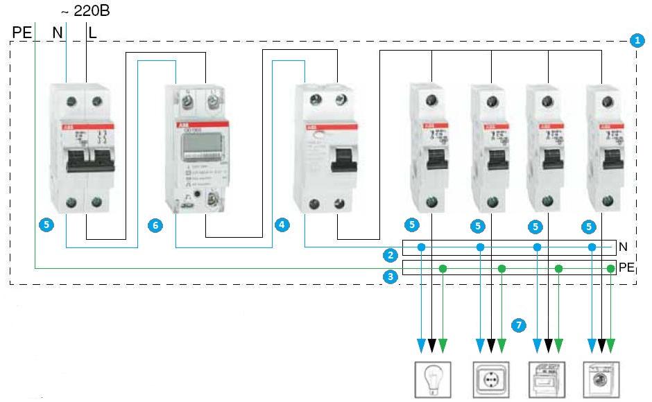 схема электрощита простая