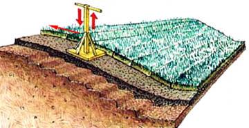 укладка газона на уклоне