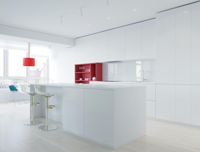 фото зонирование кухни в стиле минимализм