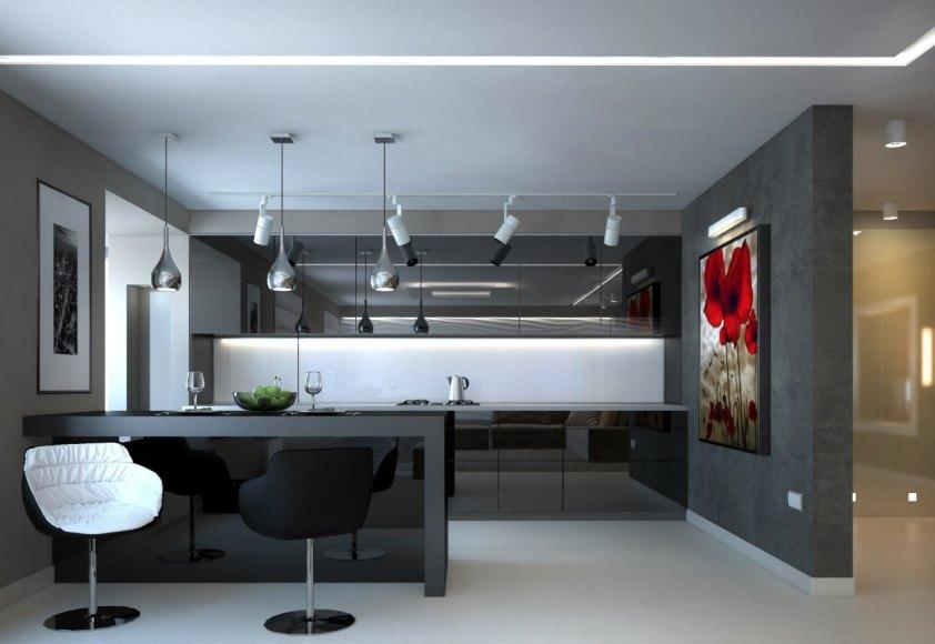 минималистический потолок кухни