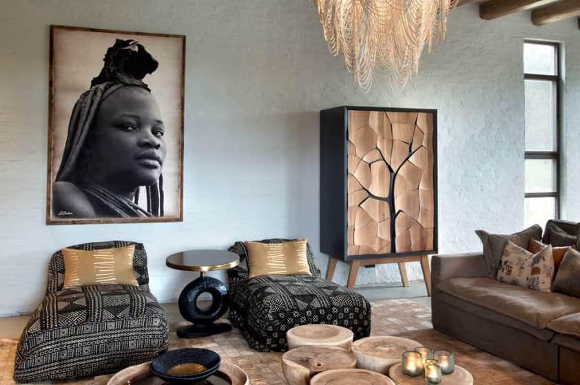 фотография, текстиль и аксессуары в африканском интерьере