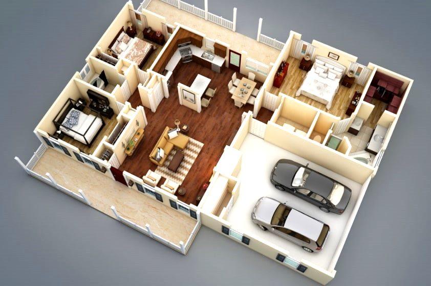 американская планировка дома в стиле неоэклектика