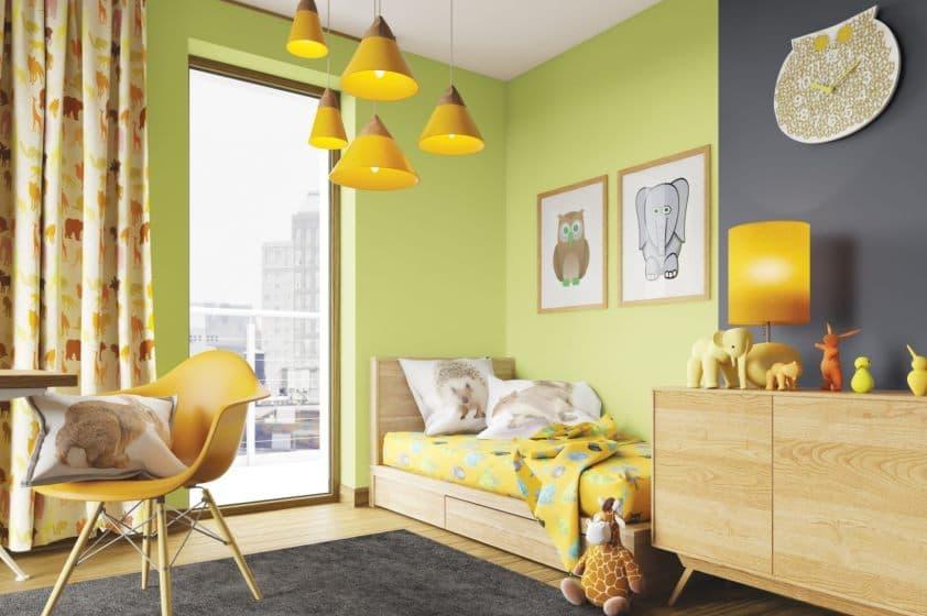 желто-зеленые тона в интерьере