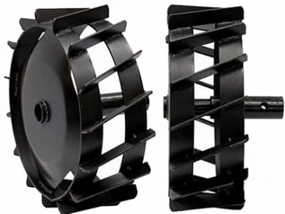 металлические колеса с грунтозацепами для культиватора