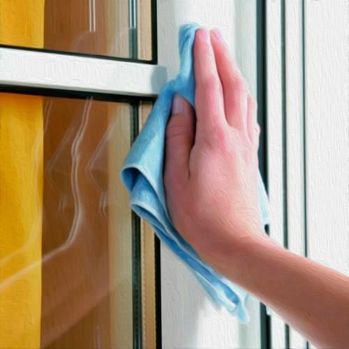 чистка и мойка рамы окна
