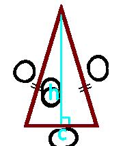 площадь равнобедренного треугольника по высоте и основанию - калькулятор