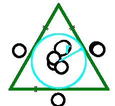площадь равностороннего треугольника по радиусу вписанной окружности - калькулятор