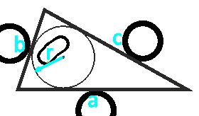 площадь треугольника по радиусу вписанной окружности и трем сторонам - онлайн калькулятор