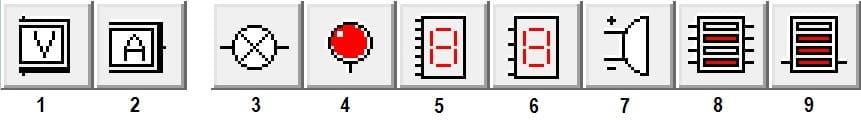 раздел Indicators в программе Electronics Workbench