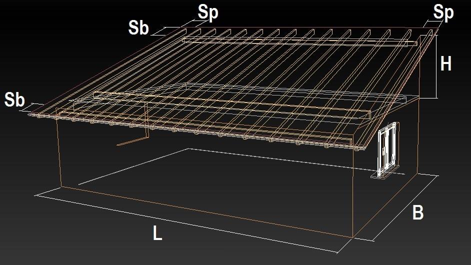 расчет односкатной крыши схема
